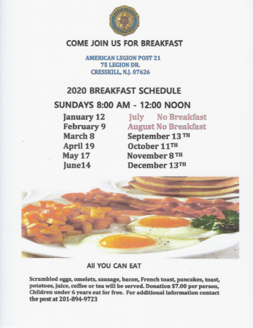 Cresskill Post 21 Breakfasts